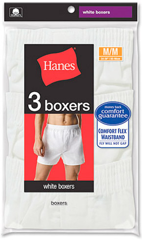 Hanes Hanes White Boxer Shorts 3-Pack,Size 2X